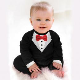 Bibihou 2018 Nowe Newborn Baby Pajacyki Odzież Dzieci Chłopcy Odzież Tie Gentleman Bow Wypoczynek Malucha One-pieces Bebe Kombin
