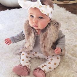 3 sztuk Garnitury Niemowlę dziecko dziewczyny ubrania Z Długim rękawem Topy Spodnie Miłość wzór z Pałąk Newborn Baby girl outfit