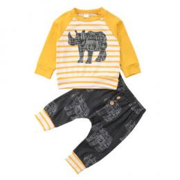 Boys Baby malucha Hot Odzież Zestaw Moda Nowy Długim Rękawem Nosorożec Zwierząt Drukuj Top Spodnie Harem Holiday Casual Outfits