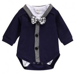 2 sztuk!! Newborn Baby Boy Ubrania Gentleman Bow Cardigans Bluza Płaszcz + Długi Rękaw Romper Kombinezon Outfits Ubrania 0-18 M
