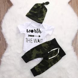 2017 Zieleń wojskowa Newborn Baby Girl Boy Ubrania Romper T-Shirt Długie Spodnie I Kapelusz Stroje 3 Sztuk