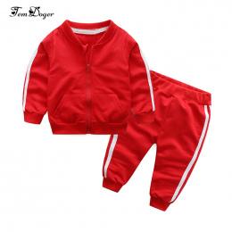 2018 jesień moda dziewczynka odzież bawełniana z długim rękawem solidna zipper kurtka + spodnie 2 sztuk bébés dres baby boy odzi