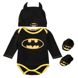 Pudcoco Hot sprzedam Newborn Baby Boy Ubrania Batman Bawełna Romper + Buty + Hat 3 Sztuk Zestaw Outfits Odzież Bebes zestaw
