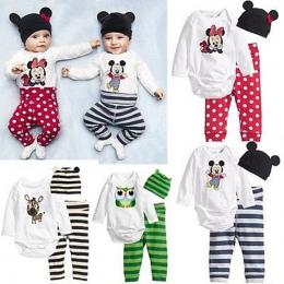 3 SZTUK Noworodka Wiosna Bawełniane Paski Dzieci Boys Baby Dziewczyny Ustawia Ubrania O-Neck Odzież Ustawia Chłopiec Z Długim rę
