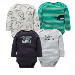 4 sztuk/partia Noworodków Odzież 2018 New Moda Dla Dzieci Chłopcy Dziewczyny Ubrania 100% Bawełna Dziecko Body Z Długim Rękawem