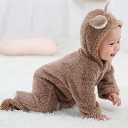 Wiosna Jesień Ubrania Dla Dzieci Flanela Baby Boy Ubrania Kreskówki Zwierząt 3D Niedźwiedź Ucha Romper Kombinezon Ciepły Noworod