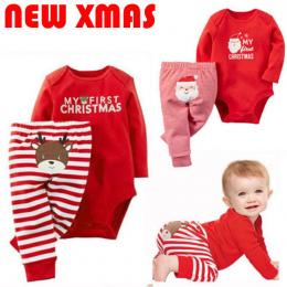 2018 Emmababy Xmas Newborn Baby Chłopcy Dziewczyny List Boże Narodzenie Romper Paskiem Długie Spodnie Ubrania Stroje Zestaw t