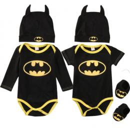 Moda Batman Boys Baby Pajacyki Kombinezon Bawełniane Topy + Buty + Kapelusz 3 sztuk Strój Ubrania Ustawić Noworodka Maluch 0 -24