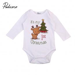 Christmas baby romper noworodka dziecko chłopcy dziewczęta cartoon jelenia Boże Narodzenie drzewo drukuj długie rękawy romper je