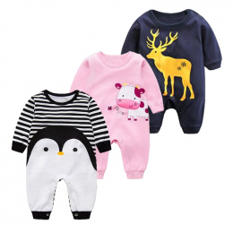 2018 Wiosna Jesień długi rękaw bawełna Romper ubrania dla dzieci ubrania dla dzieci kreskówki Pingwina dziecko zwierząt dziewczy
