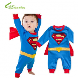 Baby Boy Romper Superman Bluza z Długim Rękawem z Halloween Kostium Christmas Gift Chłopcy Pajacyki Wiosna Jesień Odzież Uwalnia