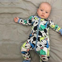 Nowy Detaliczny 2018 nowe niemowlęta Newborn baby boy i dziewczyna zużycie mickey nawet ubrania syjamskich ha wspinać odzieży