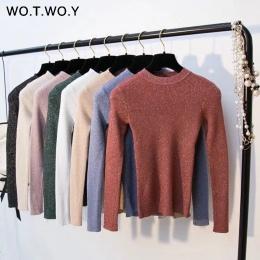 WOTWOY Błyszczące Lurex Jesień Zima Sweter Kobiety Z Długim Rękawem Sweterek Kobiety Podstawowe Swetry Kobiet 2018 Koreański Sty