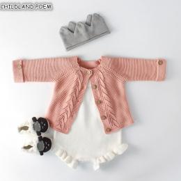 Dziecko Dziewczyny Ubrania Jesień Dziecko dzianiny Romper Zestaw Dla Niemowląt Noworodka Dziewczynka Chłopców Cardigan Sweter Ba