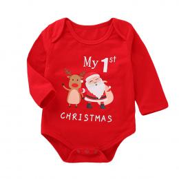 Niemowlę Dziecko Dziewczyny Chłopcy Z Długim Rękawem List Druku Boże Narodzenie Kombinezon Romper Outfit 2018 mój pierwszy boże