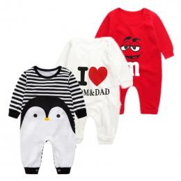 2018 bawełna cartoon Penguin style boy ubrania dla dzieci babie lato newborn baby girl odzież kombinezon dla dziecka ubrania dla