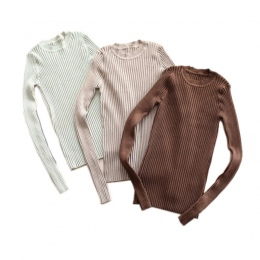 Kobiet Sweter Sweter Podstawowe Żebra Dzianiny Bawełniane Topy Solidna Crew Neck Niezbędne Jumper Swetry Z Długim Rękawem Z Thum