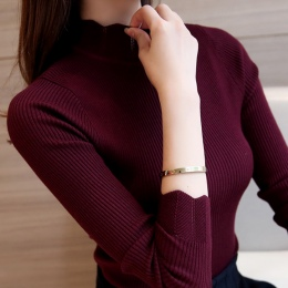 2018 Korean Fashion Kobiety Swetry i Swetry Sueter Mujer Potargane Rękawem Stałe Golfem Szczupła Sexy Elastyczna Kobiet Topy