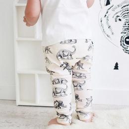 2018 Dziecko Legginsy Jesień Dinozaurów na Krem Bawełny Organicznej Dziecko Legginsy Spodnie Dzieci Harem spodnie Baby Boy Ubran