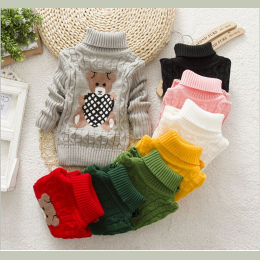 Dzieci Ubrania Wysokiej Jakości Dziewczynek Chłopcy Swetry Z Golfem Swetry Jesień Zima Ciepłe Cartoon ubrania nosić Dzieci Swete