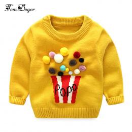 Tem Doża 2017 Jesień Zima Dziewczynek Swetry Newborn Chłopcy Z Długim Rękawem Pompon Ciepłe Dzianiny Ubrania Dla Dzieci Cartoon