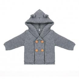 Baby Boy Knitting Sweter Stały Kolor Jesień Zima Swetry dla Dziewczyny Dzieci z Długim Rękawem Z Kapturem Płaszcz Znosić Dzieci