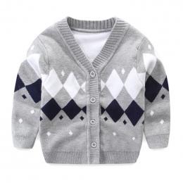 Newborn Baby Sweter Dla Chłopca Bawełna Miękkie Dziecko Kardigan Długi Rękaw, Dekolt V Chłopiec Sweter Jesień Sweter Z Dzianiny