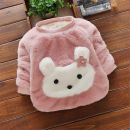 BibiCola dziewczynek swetry zimą ciepłe ubrania bawełna kreskówka królik sweter dla malucha dziewczyny jesień aksamitna babies u