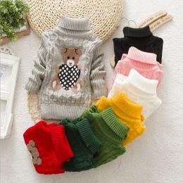 Dzieci Ubrania Wysokiej Jakości Dla Dzieci Dziewczyny Chłopcy Swetry Z Golfem Swetry Jesień Zima Ciepłe Cartoon nosić ubrania Dl