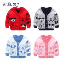 Chłopcy sweter rozpinany i bawełna 0-1 rok dziecka dzianiny płaszcz kołnierz grube V Cartoon dziewczyny swetry
