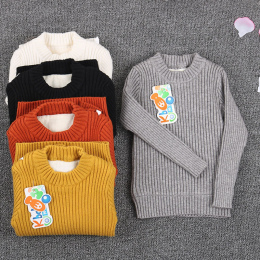 Maluch żebrowane sweter futro wewnątrz 2018 chłopiec noworodka dzianiny ubrania topy jumper zima czarni i biały wear dla dzieci