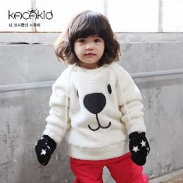Kacakid zima dzieci ciepłe potu Furry Niedźwiedź Topy chłopcy dziewczęta zagęścić aksamitna koszula dzieci śliczne miękkie płasz