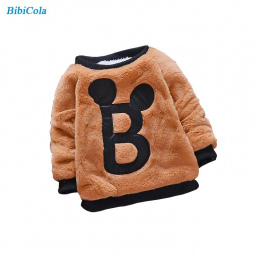 BibiCola Chłopczyk Sweter Bebe Cartoon Ciepłe Ubrania Dla Dzieci Dziewczyna Z Długim Rękawem Casual Zagęścić Topy Niemowląt Chło