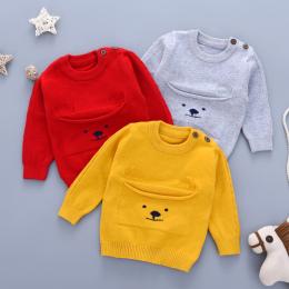 Swetry dla dzieci dla Chłopców Zimowe Ubrania Jesienią Dorywczo Newborn Dzianiny Swetry Skoczków Szary Dziecięce Długi Rękaw Dzi