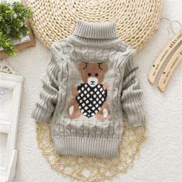 BibiCola wysokiej jakości dla dzieci dziewczyny chłopcy swetry z golfem swetry jesień zima ciepłe cartoon niemowląt dzieci odzie