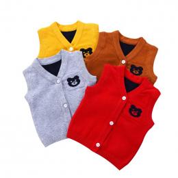 Sweterek Kamizelka dla Dzieci Chopca Dziewczynki Bez Rękawków W serek Modny Elegancki Z Dzianiny Bawełniany