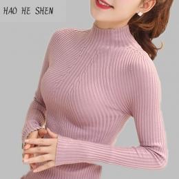 Nowy 2018 Moda Wiosna Kobiety sweter wysokiej elastyczna Stałe Dziane Swetry sweter Z Golfem kobiet szczupła sexy mocno Odbija S