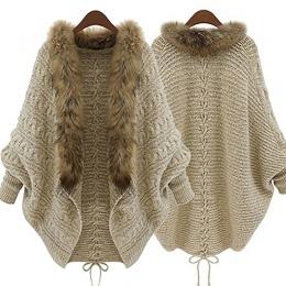 Moda Kobiety Faux Fur Collar Płaszcz Batwing Rękaw Loose Casual Ciepły Sweter Sweter Szal