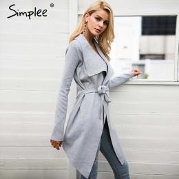Simplee Sash elastyczna sweter zimowy sweter kobiety jumper Dzianiny kardigan odzieży kobiet płaszcz Miękkie dorywczo sweter cią