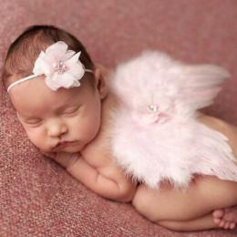 Moda Newborn Baby Kids Pióro Koronka Pałąk i Angel Wings Kwiaty Zdjęcie Rekwizyty newborn fotografia rekwizyty