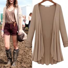 2018 NOWY Kobiety Moda Bawełna Top Cienka Bluzka Z Długim rękawem Lato Cardigan Sweter Płaszcz Duży Rozmiar Falbanką Plus Size