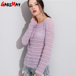 Garemay Moherowe Swetry Sweter Kobieta Swetry Z Dzianiny Z Długim Rękawem Luźne O-Neck Kobiet Zabezpieczających Sweter Swetry Pu