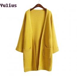 2018 ulzzang Dziewczyna Casual Długi Sweter Z Dzianiny Jesień Koreańskich Kobiet Luźne Jednolity Kolor Kieszeń Projekt Sweter Ku