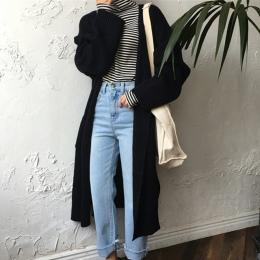 Harajuku Długi Sweter Panie 2018 Moda Wiosna Długo Drutach Sweter Kobiety Duże Płaszcz Casual Czarna Kurtka Zimowe Ubrania letni