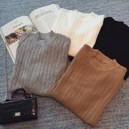 9 kolory jesień zima Kobiety panie z długim rękawem o szyi podkreślająca dzianiny krótki sweter top femme koreański pociągnij mo