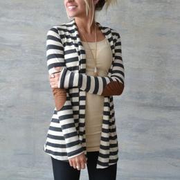 ZANZEA Moda 2018 Jesień Odzieży Kobiet Z Długim Rękawem W Paski Drukowane Sweter Dorywczo Łokcia Patchwork Sweter Z Dzianiny Plu