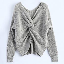 Wipalo 4 kolory V Neck Twisted Powrót Sweter Kobiety Skoczków Jesień Swetry Casual Bluzki Z Długim Rękawem Z Dzianiny Swetry pul