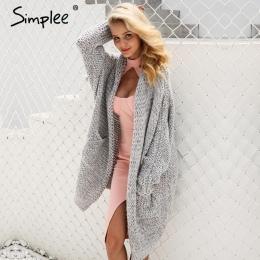 Simplee Casual knitting długi sweter kobiet Luźny sweter z dzianiny jumper 2017 ciepłe zimowe sweter kobiety cardigan