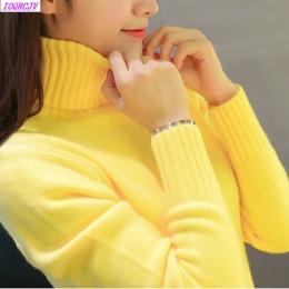 2018 Nowy Jesień zima Kobiety Swetry Z Dzianiny Swetry Z Golfem Z Długim Rękawem Jednolity Kolor Szczupła Elastyczna Krótki Swet