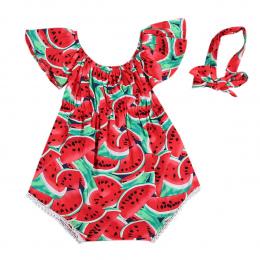 Newborn Baby Dziewczyny Arbuz Ubrania Dla Dzieci Latem Dorywcza Rękawów Red Stroje Playsuit Romper Kombinezon 0-24 M